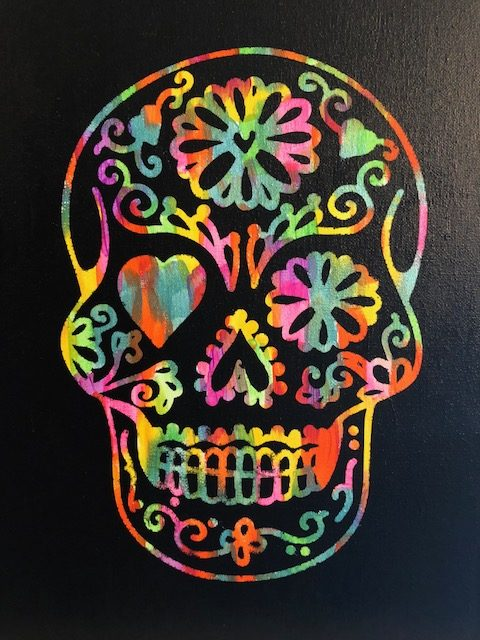 Sugar Skull Hot Mess Canvas